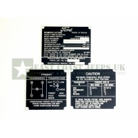 Ford GPW Zinc Nomenclature Data Plate Set -