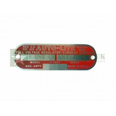 Autolite Full Voltage RegulatorTag Plate -  ECJ-W-PLATE-003