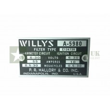 Willys MB Filter Box Tag Plate -  ECJ-W-PLATE-008