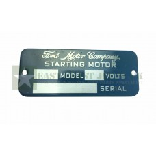 Ford Starting Motor Tag Plate -  ECJ-F-PLATE-003